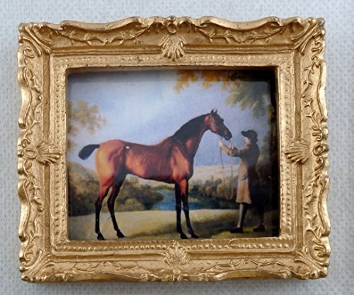 Melody Jane Dolls Houses House Miniature Accessory Horse & Trainer Picture Painting Gold Frame