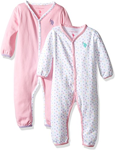 U.S. Polo Assn. Baby Girls' 2 Pack Long Sleeve Sleepers Or Play Rompers, Delta Purple, 6-9 Months