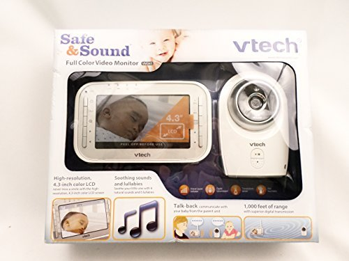 VTech VM341 Digital Video Baby Monitor with Camera and Automatic Night Vision, 1 Camera, White