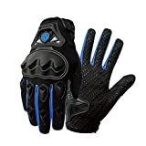 SCOYCO Motorcycle Gloves men, with Reinforced Knuckle,Anti-Slip,Breathable,Shockproof Powersports Protective Riding Gloves (Blue,L).