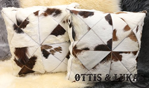 Set of two Cowhide Throw Pillows White/Brown Animal Skin - Polyester Fiberfill Include Polyester Fiberfill by Ottis & Lukas