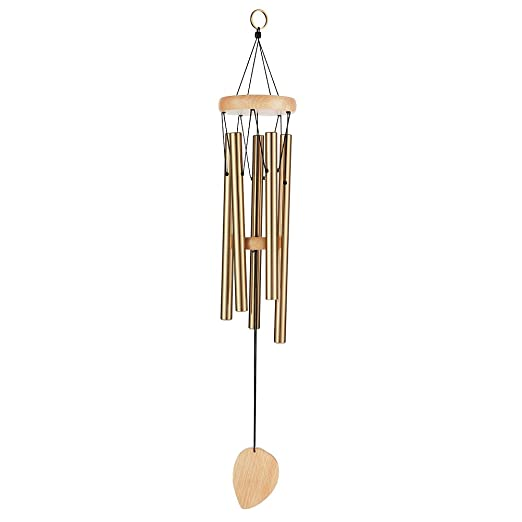 Wind Chimes, 25.6 inches Musical Windchime Sweet Sound Mother Dad Outdoor Indoor Relax Meditation Garden, Percussion Instrument Aluminum Tubes Metal Wood Medium Large Wind Chime, Copper