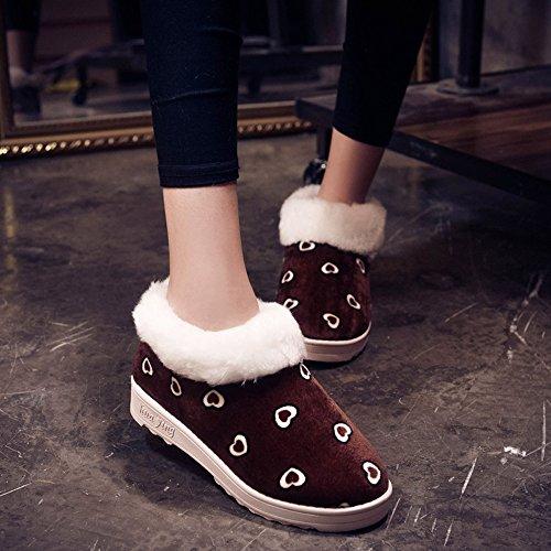 Stivali Da Donna, Haop Donna Autunno Inverno Caldo Modello A Forma Di Cuore Appartamenti Scarpe Stivali Da Neve Caffè
