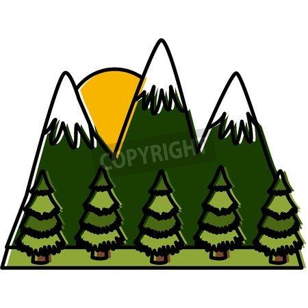 adrium Mountains And Forest Landscape Icon Vector Ilustración ...