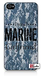 Camouflage Proud Marine Girlfriend Digital Camo Blue iPhone 4 Quality Hard Snap On Case for iPhone 4 4S 4G - AT&T Sprint Verizon - White Case Cover