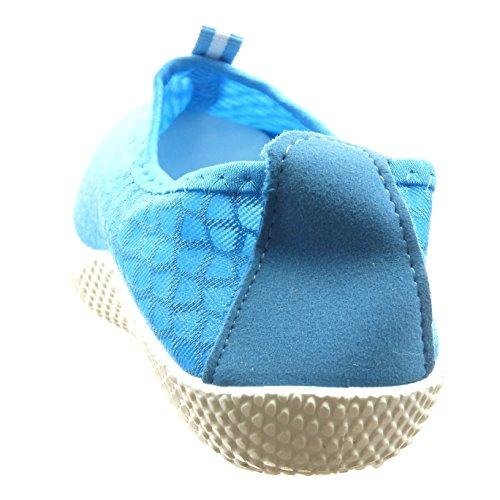 Sopily - Scarpe da Moda Sneaker alla caviglia donna lines Tacco a blocco 2.5 CM - Blu