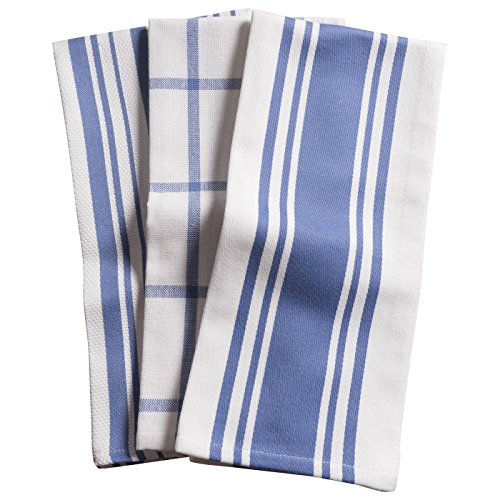 - KAF Home Centerband/Basketweave/Windowpane Kitchen Towels, Set of 3, Periwinkle