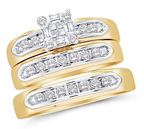 Sizes - L = 7, M = 9.5 - 10K Yellow Two Tone Gold Princess Cut, Round & Baguette Diamond Trio Three Ring Set - Matching His and Hers Engagement Ring & Wedding Bands - Invisible Set Square Princess Center Setting Shape with Channel Set Side Stones (1/2 cttw.) - Please use drop down menu to select your desired ring sizes (Baguette Two Tone Diamond)