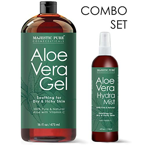 MAJESTIC PURE Aloe Vera Gel and Mist Super Combo - 16 oz Gel and 4 oz Hydra Spray - 100 Percent Pure and Natural Cold Pressed Aloe Vera for Hair ()
