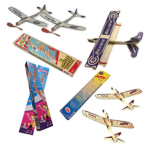 Jetfire Glider Balsa Wood Airplanes by Guillows Bullseye Biplane - Sky Streak Airplane Wind Up Rubber Band Powered Toys Bundle for Kids with Sunny Glider Planes ()