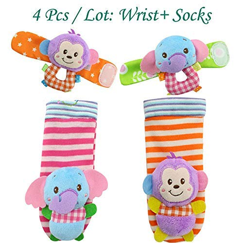 VQ-Ant 4pcs Baby Socks Gift Toys Baby Wrist Rattle and Foot Rattles Finder Socks Monkey and Elephant Plush Toys Set Organic Cotton Socks for Infant and Toddler (4pcs Monkey/Elephant)