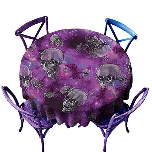 Spillproof Tablecloth,Skull Horror Movie Thirller Themed Flying Skull Heads Halloween in Outer Space Image,High-end Durable Creative Home,55 INCH,Black and Purple