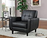 Cheap Accent Chair with Stitching in Black Leatherette