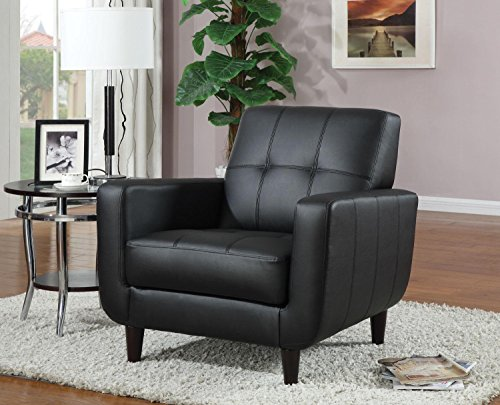 Accent Chair with Stitching in Black Leatherette