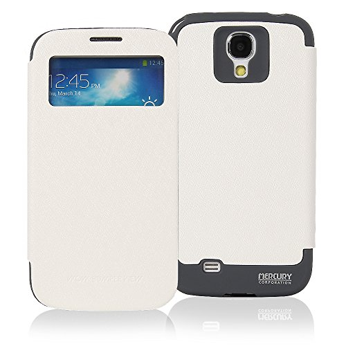 Galaxy S4 Case, [Drop Protection] Goospery® Wow Bumper [View Window] Case *Synthetic Leather + TPU Jelly* Cover for Samsung Galaxy S4 - White