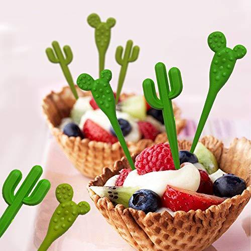 (12 PCS JeVenis Cactus Food Picks Fruit Picks Cactus Forks Cactus Cartoon Toothpick Bento Lunch Decorative Cactus Cake Toppers Cupcake Picks Fruit)