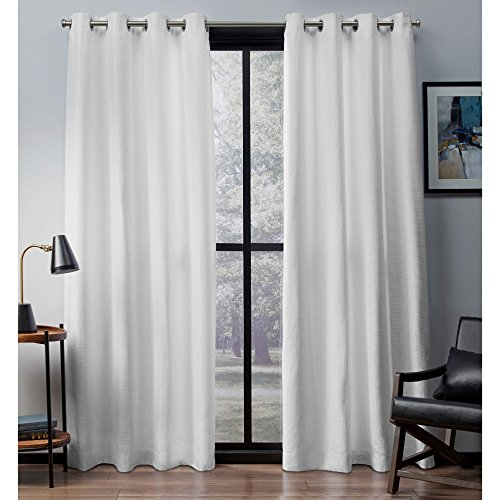 ton Woven Blackout Window Curtain Panel Pair with Grommet Top 52x84 Winter White 2 Piece ()