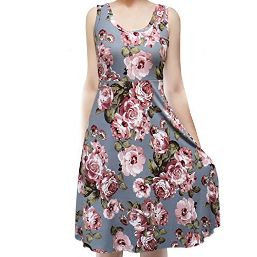- SMT Women's Sleeveless Flowy Midi Summer Beach A Line Tank Dress Denim.Rust Pink Medium