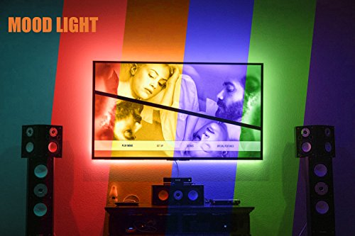 Large Product Image of PANGTON VILLA Led Strip Lights 6.56ft for 40-60in TV USB Backlight Kit with Remote, 16 Color 5050 Bias HDTV, for 40-60