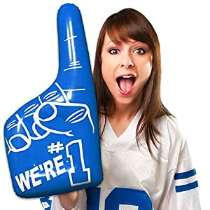"""Inflatable Number One Hands - 16"""" Blue, 12 Pack"""