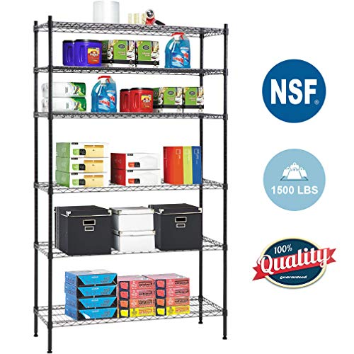 (6 Shelf Wire Shelving Unit Heavy Duty Metal Storage Shelves NSF Wire Shelf Organizer Black Height Adjustable Utility Rolling Steel Commercial Grade Layer Shelf Rack 1500 LBS Capacity-16x42x72)