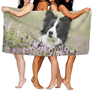 "Beach,Towel,Cute Border Collie in The Flowers,Super Absorbent Microfiber (31""x 51"" Inche) Beach Towel 1"