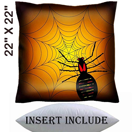 22x22 Throw Pillow Cover with Insert - Satin Polyester Pillow Case Decorative Euro Sham Cushion for Couch Bedroom Handmade IMAGE ID: 1729325 illustration of a halloween spider on its web with a or]()