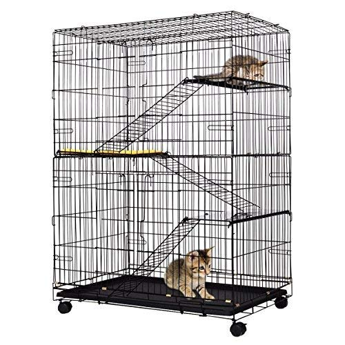 Giantex 4-Tier Cat Playpen Cat Cage with 3 Climbing Ladders & 3 Rest Benches & Cushion (4-Tier) (Box Litter Three Tier)
