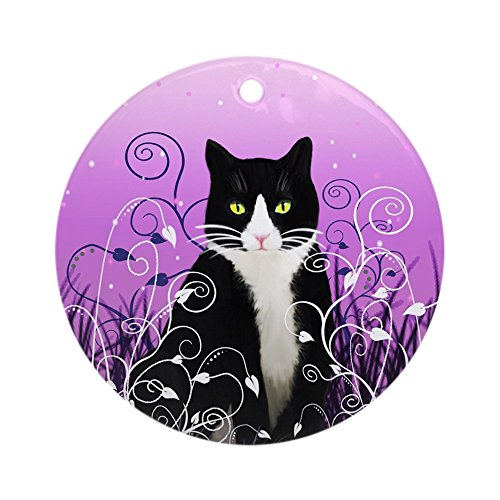 CafePress Tuxedo Cat On Lavender Ornament (Round) Round Holiday Christmas Ornament