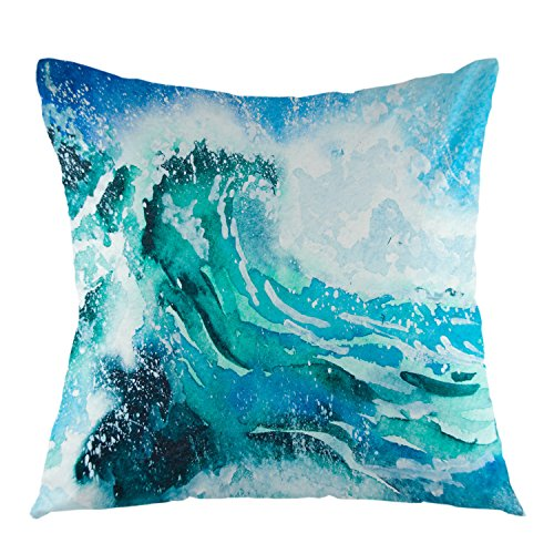 oFloral Sea Waves Decorative Throw Pillow Cover Ocean