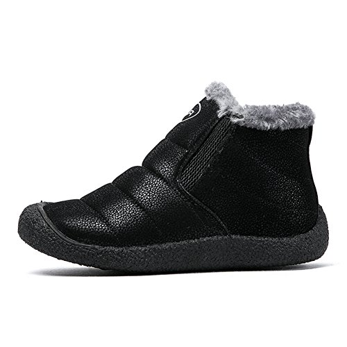 Fexkean Unisex Warm Snow Boots Slip On Winter Shoes With Soft Fur Waterproof Ankle Bootie For Men and Women 2-Black ZDVeiZL