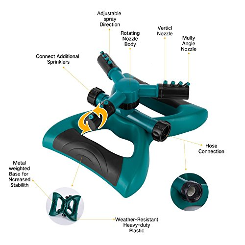 Sprinkler, Lawn Sprinklers Oscillating Water Irrigation Sprayer for Garden with Automatic 360 Rotating Head, Triple Arms & Easy Connection - Hose Sprinkler for Yard & Patio by Joygardin (Image #1)