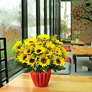 Artificial Flowers, Fheaven 4 Pcs Fake Sunflowers Silk Flowers Table Centerpieces Arrangements Home Decor,Gift for Mom 18