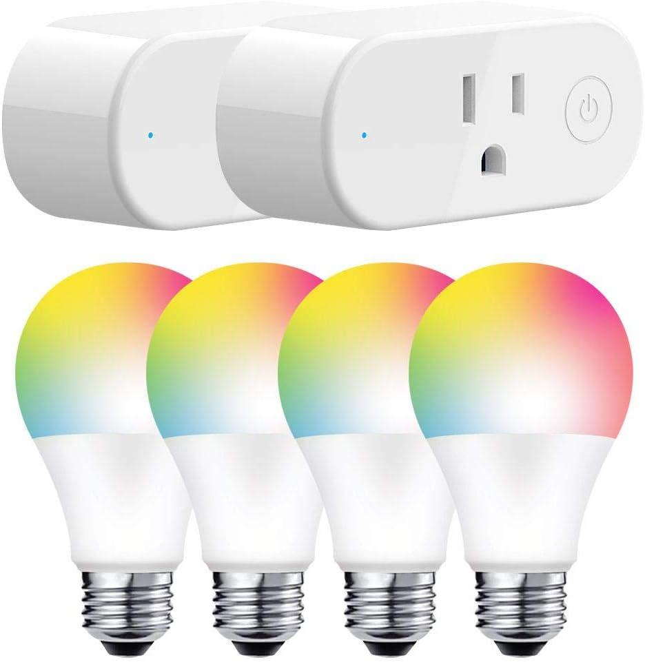 Jetstream Smart Home Starter Kit: 2 Smart Plugs + 4 Color Smart Bulbs