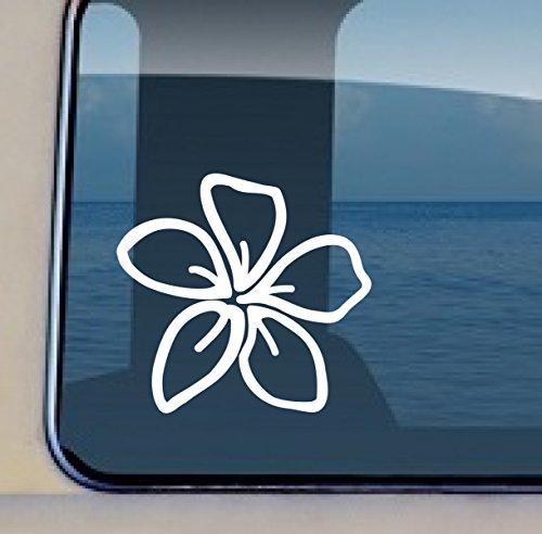 Plumeria Decal Hawaiian Flower Vinyl Sticker 4 by 4.25 inch