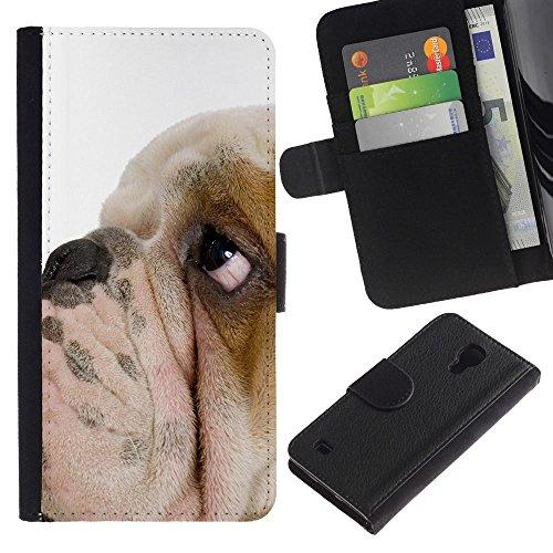 EuroCase - Samsung Galaxy S4 IV I9500 - English bulldog British breed dog puppy - Cuero PU Delgado caso cubierta Shell Armor Funda Case Cover