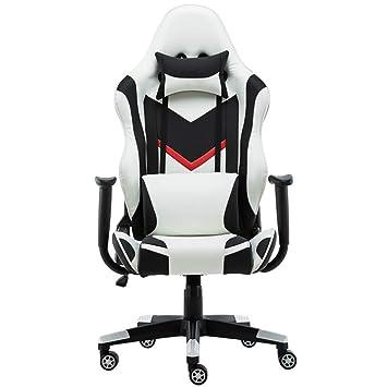 Silla ErgonóMica para Juegos/E-Sports Chair/Recliner/SillóN Giratorio - Silla De Oficina Giratoria con Respaldo Alto Estilo De Carreras, Blanco,White: ...