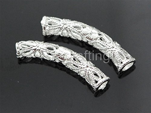 10 Top Quality Flower Pattern Tube Bead Sterling Silver Plated 30 x 5mm (Swarovski Crystal Bead Patterns)