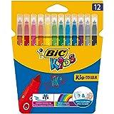 BIC Kids Kid Couleur Felt Tip Colouring Pens - Assorted Colours, Cardboard Wallet of 12