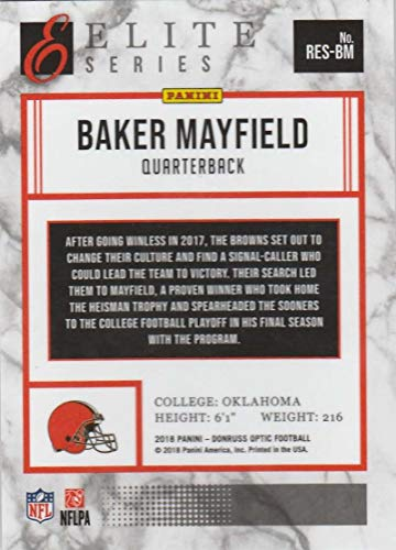 Amazon.com  2018 Donruss Optic Rookie Elite Series  RES-BM Baker Mayfield  Cleveland Browns Football Card  Collectibles   Fine Art cd893d518