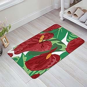KAROLA - Felpudo antideslizante para interiores y exteriores con diseño de flor de flamenco lavable a máquina en primavera