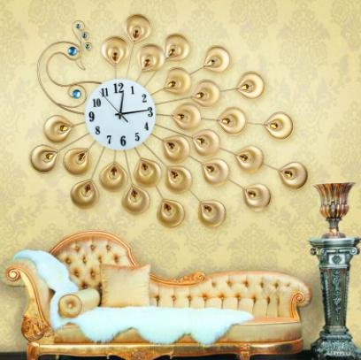 Luxuary Peacock Wall Clock Modern Design Large Quartz Wall Watch Reloj for Living Room Home Decor 3D Kitchen Wall Clock - Edinburgh Hours Outlet