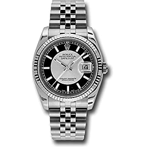 Rolex Oyster Perpetual Datejust 36mm Stainless Steel Case, 18K White Gold Fluted Bezel, Silver and Black Dial, Index Hour Markers, and Jubilee Bracelet.