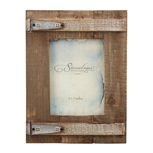 Stonebriar Rustic Natural Wood Picture Frame, Easel Back for Desktop or Table Top Display (Dog Picture Frame Metal)