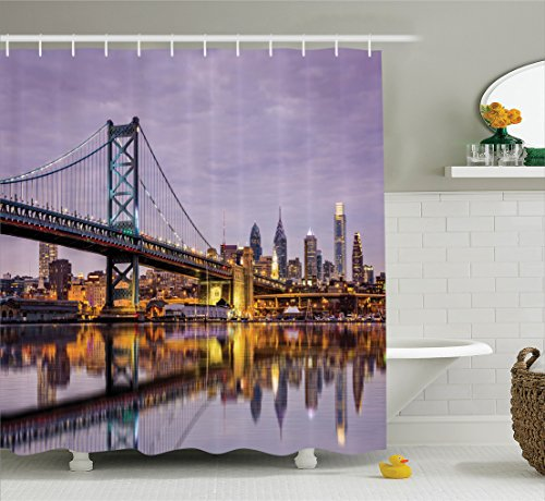 Ambesonne Apartment Decor Collection, Ben Franklin Bridge and Philadelphia Skyline under Sunsets Reflections on Water Image, Polyester Fabric Bathroom Shower Curtain Set with Hooks, Gray - On Broadway Sc The Beach