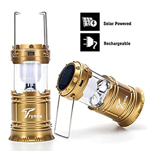 Trymie 2 Pack Gold 2-in-1 Rechargeable Camping Lantern Solar Flashlight with USB Power Bank for Hiking Camping Blackouts