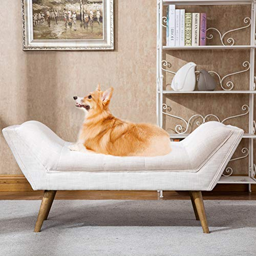 (Fabric Upholstered Bed Bench, Armed Footstool Vanity Benches for Foot of Bed/Bedroom/Entryway/Living Room/Dressing Room)