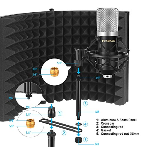 Aokeo Premium Microphone Isolation Shield, Foldable Adjustable Studio Recording Microphone Isolator Panel, Constructed with Industrial Quality Aluminum, High-Density Absorbing Foam Cotton (AO-302) by aokeo (Image #7)