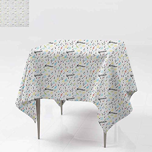 AndyTours Indoor/Outdoor Square Tablecloth,Music,Symbolic Music Notes Joy Artistic Vibes Pitch Beat Rhythm Sound Sonic Timbre Design,High-end Durable Creative Home,60x60 Inch Multicolor