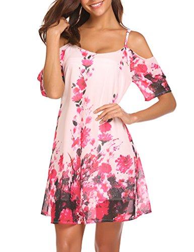 Naggoo Womnes Cutout Shoulder Floral Printed Loose Casual Mini Chiffon Dress Pink Floral L